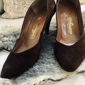 VINTAGE AMANO heels Sz 9.5AA LEATHER BROWN